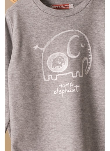 Zeyland Mama Elephant Baskılı Pijama Takımı (1-4yaş) Mama Elephant Baskılı Pijama Takımı (1-4yaş) Gri